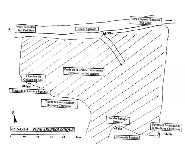 Thapsus Ausgrabungsstätte Lageplan