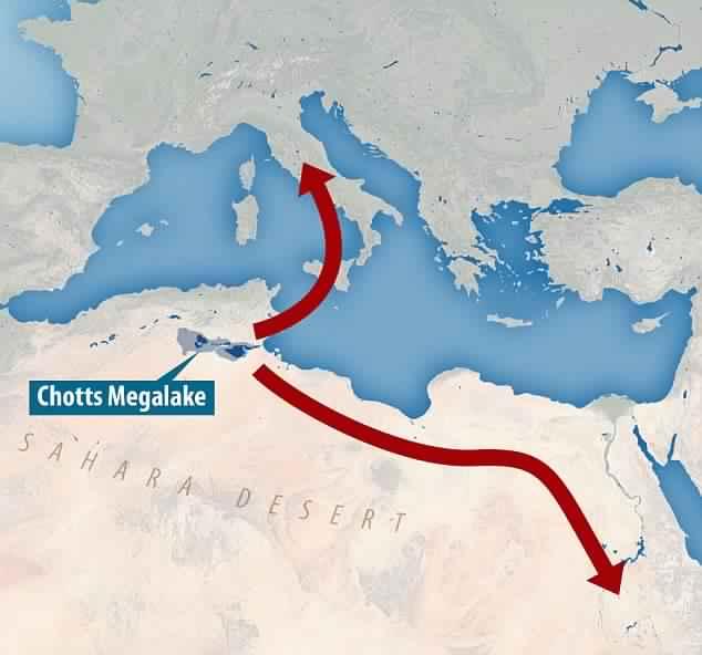 Forscher der Universität Oxford haben Tierknochen und Steinwerkzeuge an den Rändern des Chott Megalake in Tunesien gefunden.