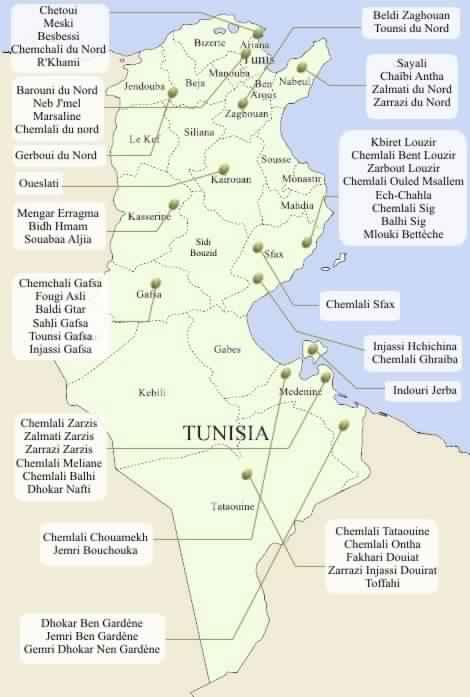Karte Olivensorten Tunesien – (TRIGUI, A. et MSALLEM M. (2002): «Catalogue des variétés Autochtones et types locaux». IRESA. N°132, pp. 159-176.)