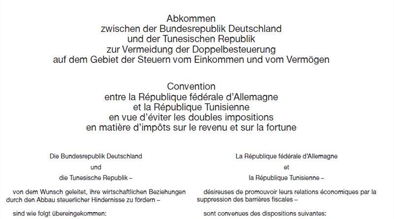 10.10.2018: Abkommen zwischen Deutschland und Tunesien zur Vermeidung der Doppelbesteuerung genehmigt
