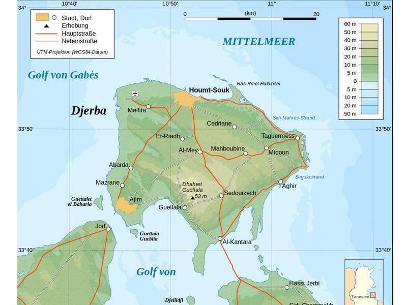 Topographische Karte Djerba