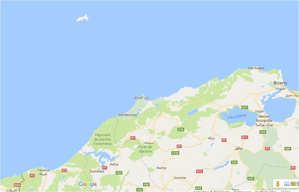 Position der Insel Galite vor der Küste