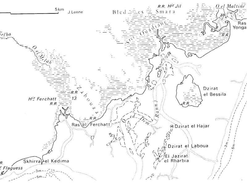 Karte des Kneiss Archipels aus der Encyklopädie Berbere