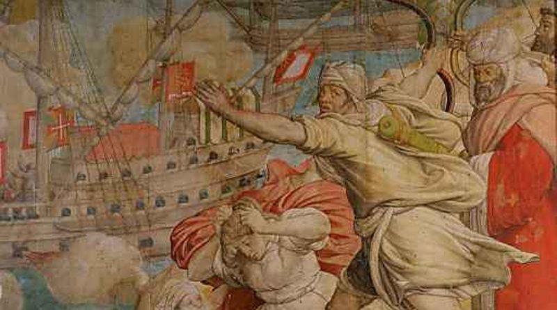Einnahme der Festung La Goletta durch Heer und Flotte, Detail: Maurische Familie. Jan Cornelisz Vermeyen, 1546-50 (Der Tunis Feldzug Karls V., 6. Karton). Wien, Kunsthistorisches Museum, Gemäldegalerie.