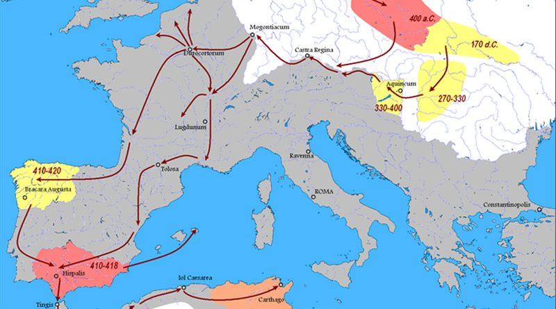 Karte der Ausbreitung der Vandalen (Auszug)