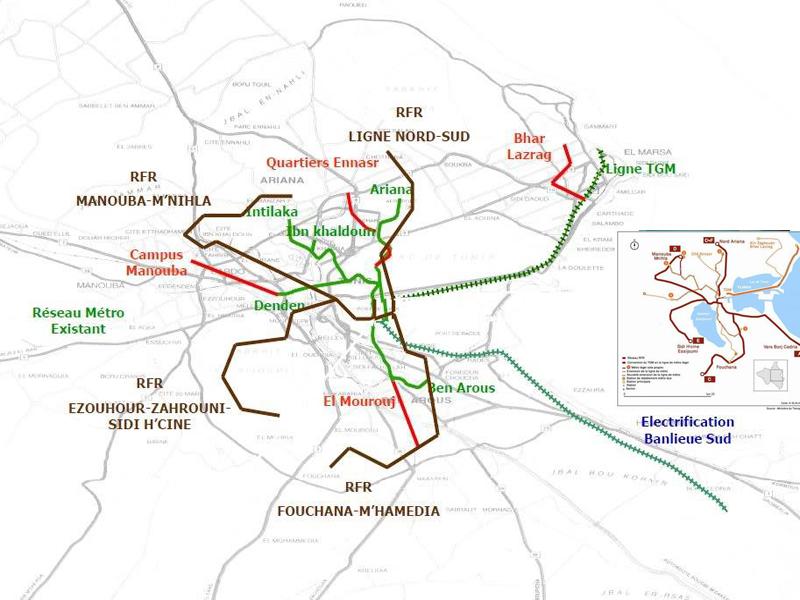 Plan des neuen Schnellbahnnetzes und des alten Metronetzes