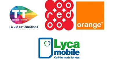 Mobil-Telefonanbieter Orange, Ooredoo, Tunisie Telecom, Lyca Mobile