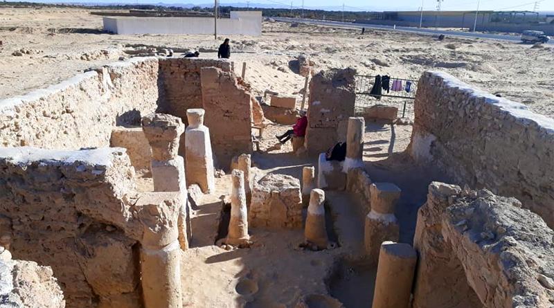 Christliche Kirche an der Ausgrabungsstätte Castilia zwischen Tozeur und Degueche
