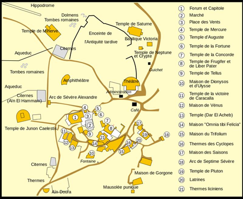 Karte von Dougga - Bild: Ewan ar Born - Image:Dougga.png by Jaumé Ollé i Casals, CC BY-SA 3.0, https://commons.wikimedia.org/w/index.php?curid=4462322