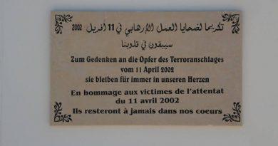 Gedenkstein an der Al-Ghriba-Synagoge