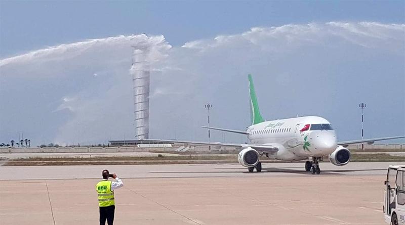 """Wassersalut für die Maschine """"Amen"""" der Jasmin Airways (TS-IJA) am Flughafen Enfidha-Hammamet am 20.06.2019"""