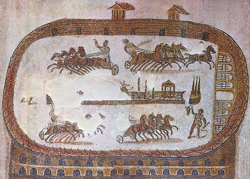 Mosaik des Zirkus von Karthago im Bardo Museum Tunis