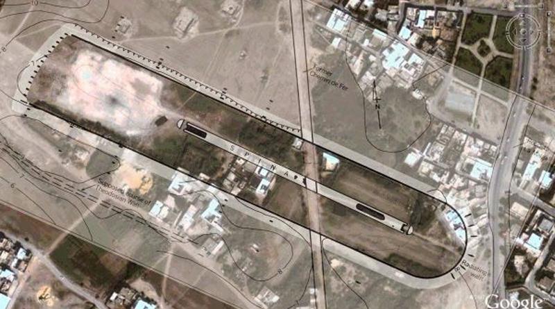 Overlay des Zirkus von Karthago auf eine aktuelle Karte von Google Maps