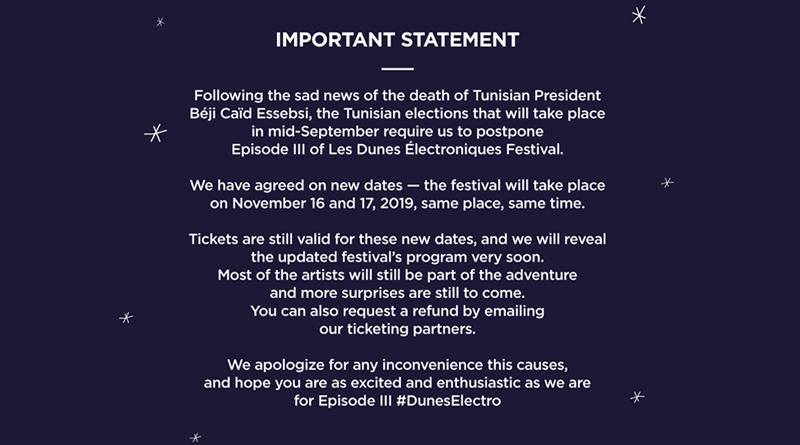 """Wegen Präsidentschaftswahlen: Wüstenfestival """"Les Dunes Electroniques"""" auf November 2019 verlegt"""