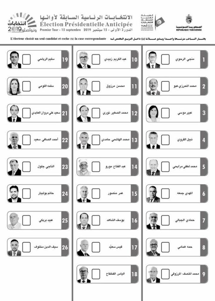 Wahlzettel Präsidentschaftswahlen am 15.09.2019 in Tunesien