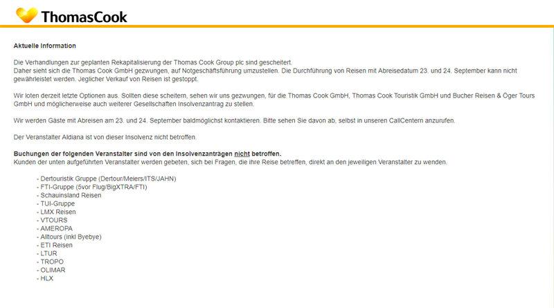 Insolvenz des Reiseveranstalters Thomas Cook