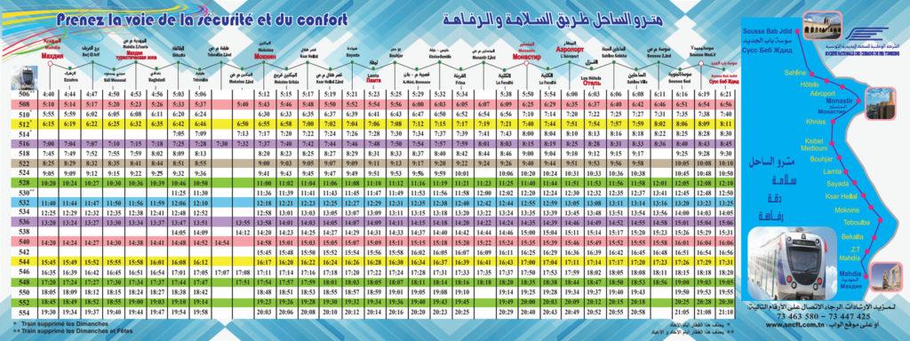 Metro du Sahel Fahrplan Mahdia-Sousse - Winter 2019/2020 - Vergrößern durch Klicken auf das Bild