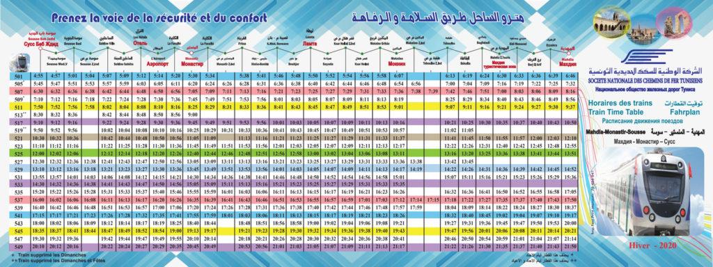 Metro du Sahel Fahrplan Sousse-Mahdia – Winter 2019/2020 – Vergrößern durch Klicken auf das Bild