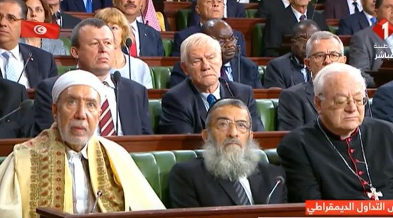 Vertreter der drei monotheistischen Religionen in Tunesien: Mufti der Republik Tunesien, Othman Battikh, den Oberrabbiner von Tunesien, Chaim Bittan und Ilario Antoniazzi, dem Erzbischof von Tunis