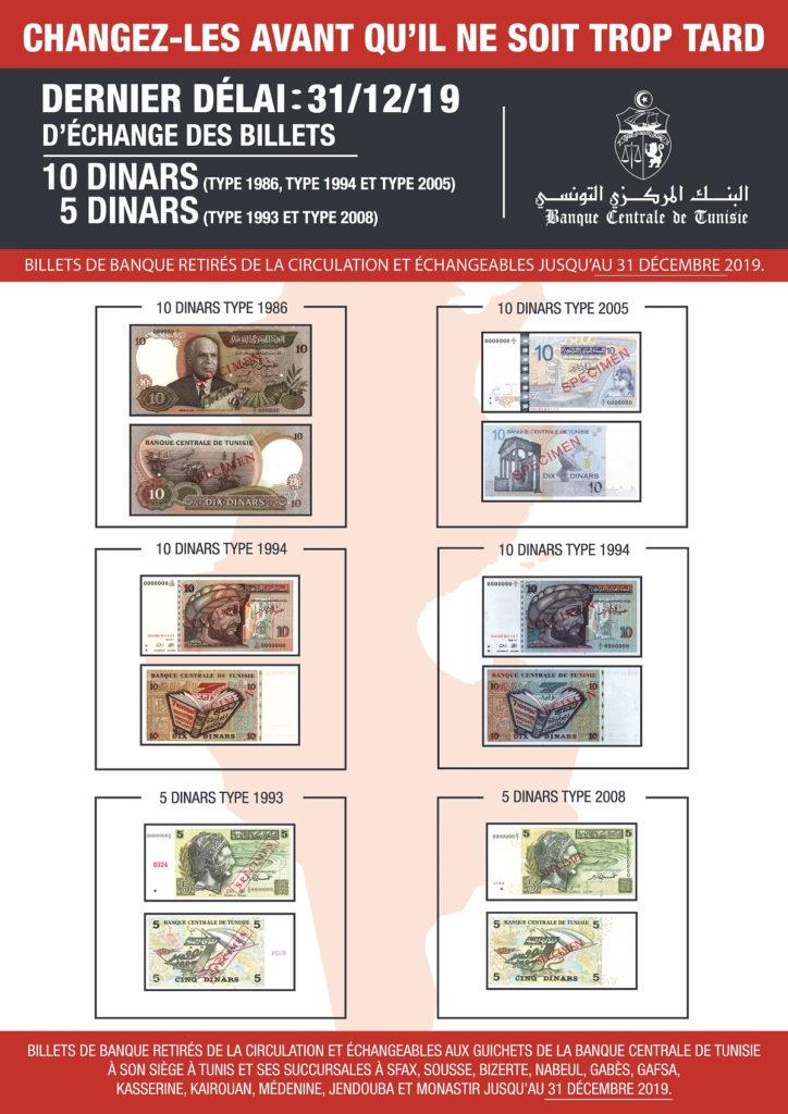 Letzte Umtauschfrist für diese alten 5 und 10 Dinar Banknoten bis Di., den 31. Dez. 2019