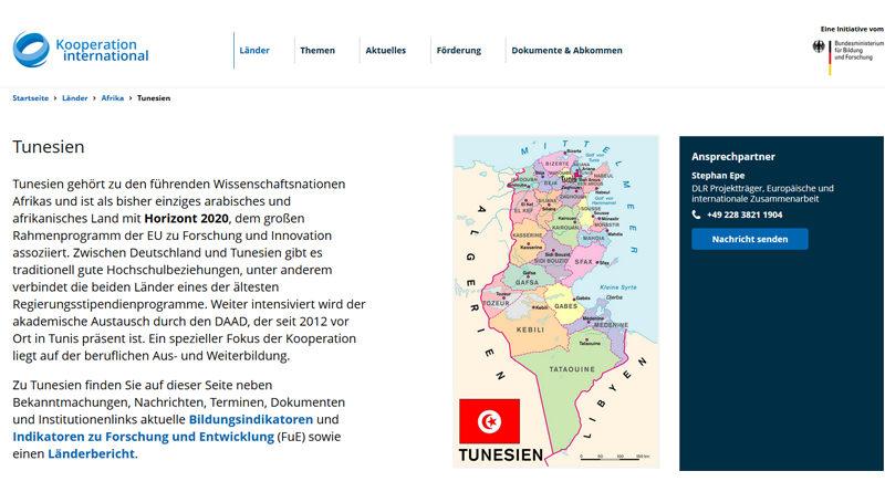 Kooperation International: Neue Tunesien-Seite ist online