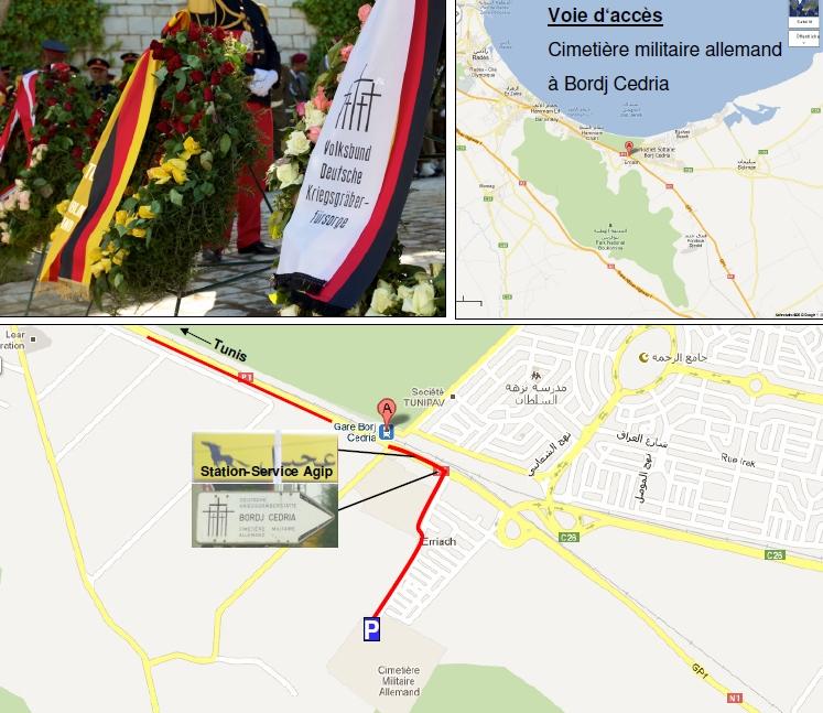 Anfahrtsplan Soldatenfriedhof Bordj Cedria