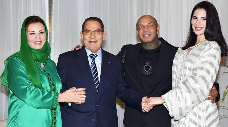 Zine el-Abidine Ben Ali und Familie im Januar 2019 - vlnr: Ehefrau Leila Trabelsi, Zine el-Abidine Ben Ali, Rapper K2, damaliger Lebensgefährte von Tochter Nesrine Ben Ali (r.)