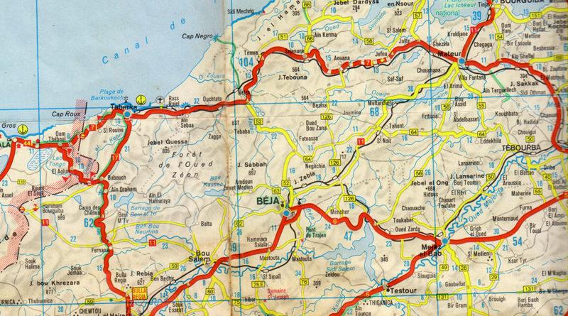 Straßenkarte Nordwest-Tunesien mit Jendouba und Béja