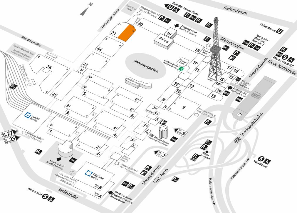 Hallenplan ITB 2020 - Zum Vergrößern auf das Bild klicken (Öffnet in einem neuen Fenster)