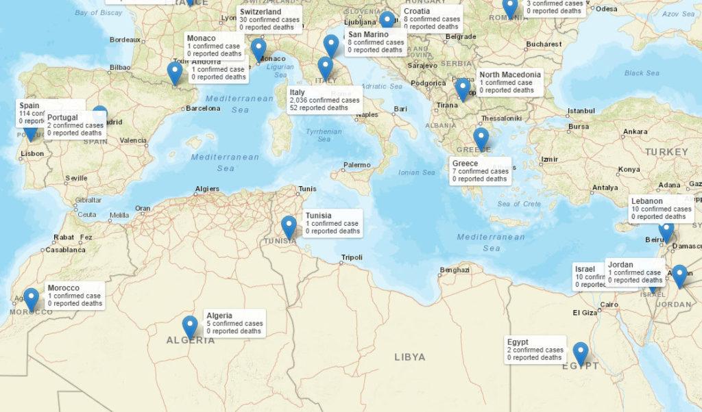 Verbreitung des Coronavirus Covid-19 rund um das Mittelmeer, Stand 03.03.2020, 12 Uhr - Zum Vergrößern auf das Bild klicken