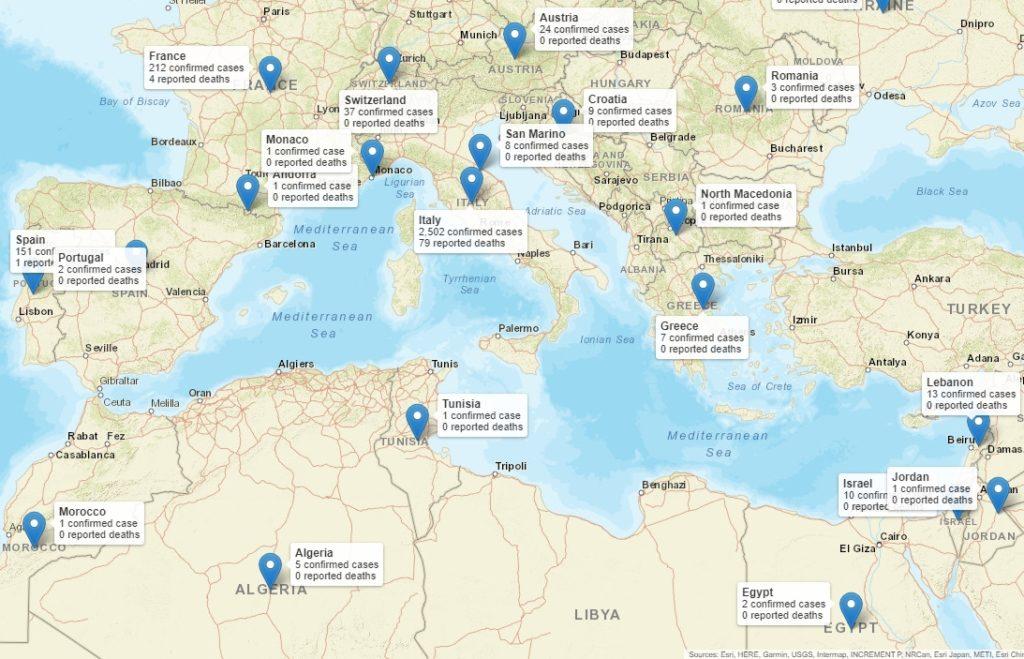 Verbreitung des Coronavirus Covid-19 rund um das Mittelmeer, Stand 04.03.2020, 15.30 Uhr - Zum Vergrößern auf das Bild klicken (öffnet in neuem Fenster)