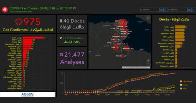 Covid-19 Zahlen Tunesien von Dienstag, 28 April 2020