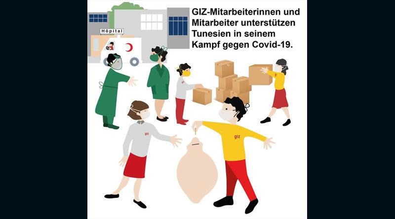 Covid-19 Hilfskampagne Tunesien von Mitarbeiterinnen und Mitarbeiter der GIZ Tunesien