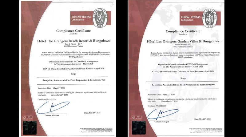 Zertifizierung nach WHO-Standard für Les Orangers Hammamet