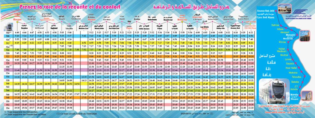 Metro du Sahel Fahrplan Mahdia-Sousse - Winter 2020/2021 - Vergrößern durch Klicken auf das Bild