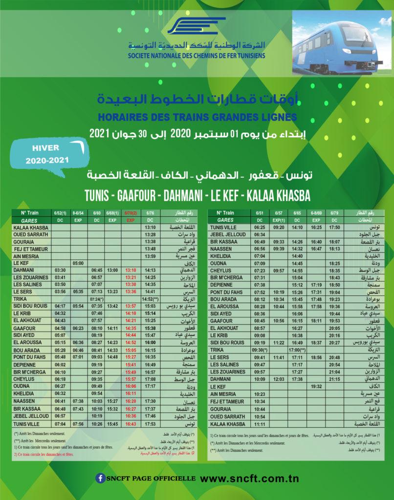 Fernlinien Tunis-Gaafour-Kef-Dahmeni-Jrissa-Tejerouine-Kalaa-Khasba & zurück