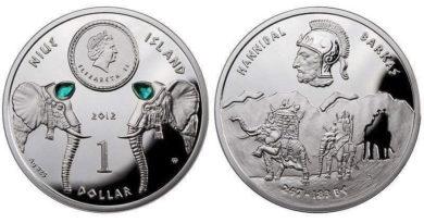 Insel Niue im Pazifik: 1 $ Hannibal-Münze in Silber