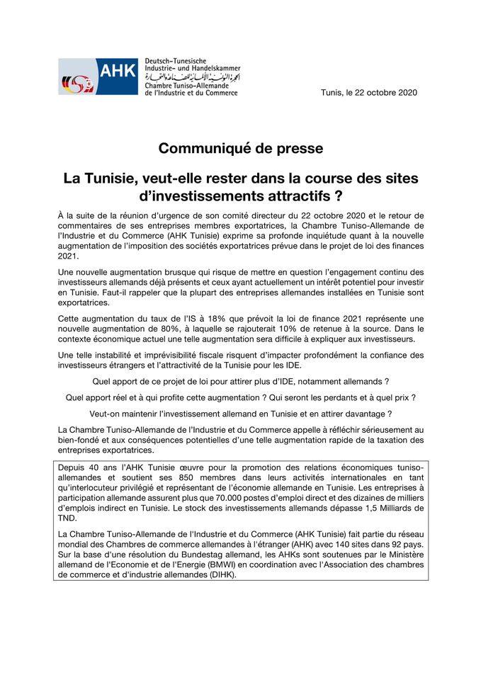 Haushalt 2021: Deutsch-Tunesische Handwerkskammer äußert Besorgnis