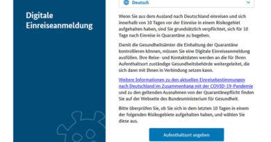 Deutschland: Digitale Einreiseanmeldung ab So, 8 Nov 2020, 18 Uhr