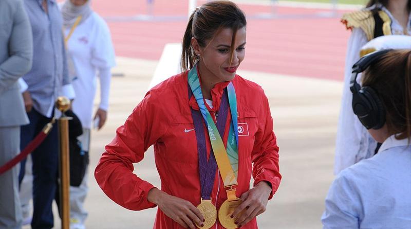 Erhalt der Goldmedaille bei den olympischen Spielen 2012 - Bild: Von Citizen59 - Eigenes Werk, CC BY 3.0, https://commons.wikimedia.org/w/index.php?curid=50018354
