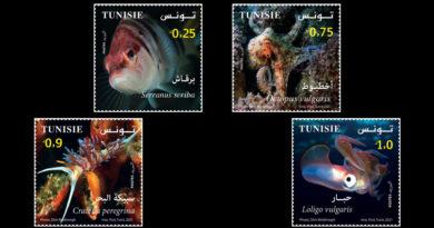 Meeresbiologie in Tunesien - Ausgabe einer Serie von 4 Briefmarken