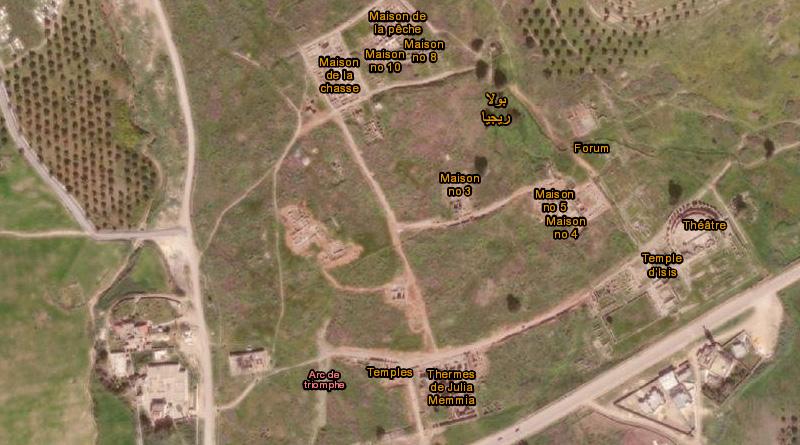 Verteilung der Monumente in Bulla Regia - Bild: https://earthexplorer.usgs.gov