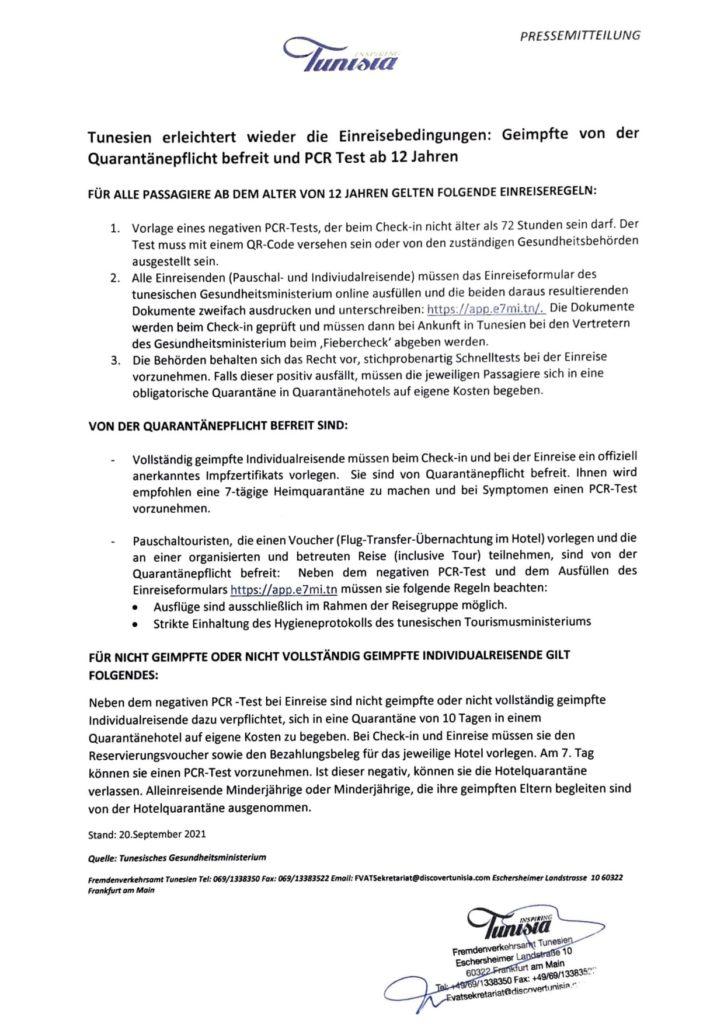 Einreisebestimmungen des Fremdenverkehrsamtes Tunesien vom 20 September 2021