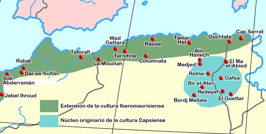 Menschliche Präsenz auf dem Gebiet des heutigen Tunesien - Ausbreitungsgebiet des Iberomaurusien (grün), Kerngebiet des Capsien (blau)