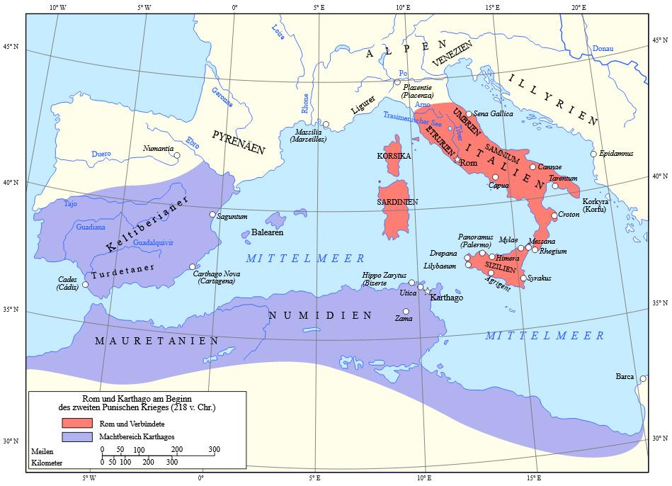 Menschliche Präsenz auf dem Gebiet des heutigen Tunesien - Die Reiche der Römer und Karthager vor dem Zweiten Punischen Krieg - Bild: Von Map of Rome and Carthage at the start of the Second Punic War.svg: Grandiose (Diskussion · Beiträge) - Map of Rome and Carthage at the start of the Second Punic War.svg: Grandiose (Diskussion · Beiträge), CC BY-SA 3.0, https://commons.wikimedia.org/w/index.php?curid=109556762